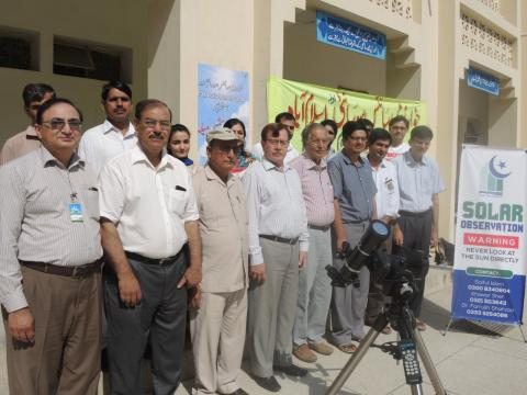 PAS members at the event with the School Principal and Khwarizmi Science Society
