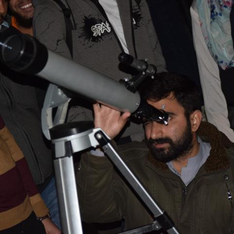 Observation through telescope